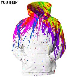 rainbow painting Promo Codes - YOUTHUP 2018 3d Hoodies Men Splash Paint Print Rainbow Hooded Sweatshirts Men Unisex Hoodies 3d Pullover Fashion Casual Outwear
