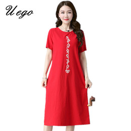 02e2ade61b3 Uego 2018 Fashion Embroidery Floral Cotton Linen Summer Dress Plus Size  M-4XL Loose Women Casual Midi Dress Female Vestidos
