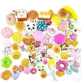 Wholesale Diy Cell Phone Decorations - 30pcs DIY Soft Funny Squishy Slow Rising Jumbo Squeeze Toast Cake Bread Panda Ice Cream Cell Phone Straps Toy Phone Decoration