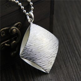 Wholesale vintage silver brush - designer jewelry vintage 925 sterling silver pendant handmade charm Brushed sweater chain pendant female square fashion pendant china direct