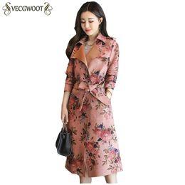 Женщины ветровка 2018 осень зима новая мода женская куртка тонкий пояс LadiesCoat печати корейский верхняя одежда средней длины PR071 от Поставщики кроссовки с блестками