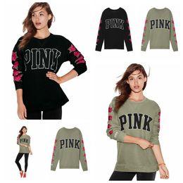 Wholesale Flower Print Tops - Women Pink Letter Print Long Sleeve Hoodie Pullover Sweatshirt Casual Top Rose Flower Embroidery Loose Sweatshirts LJJO4096