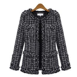 Mulheres jaqueta longa tweed on-line-Outono Inverno Jaqueta Bomber Mulheres New Outono Fino Grid Coat Plus Size Manga Comprida Em Torno Do Pescoço Fino Bolso Tweed Jacket MT1705