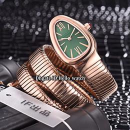 Grüne frauen armband uhren online-8 Stil 29mm Serpenti Tubogas 102726 Grünes Zifferblatt Schweizer Quarz Damenuhr Roségold Fall Stahl Ring Armband Mode Dame Uhren