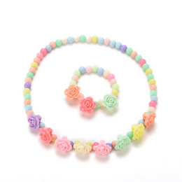 beaded girls necklace bracelet Promo Codes - whole saleCandy Beaded Bubblegum Necklace Lovely Kids Necklaces Bracelet Rose Shaped Baby Girl Party Jewelry Multicolor