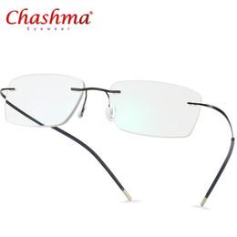 Óculos coreanos on-line-Óculos de armação de titânio homens sem aro prescrição óculos mulheres miopia armações ultraleves coreano sem parafusos eyewear