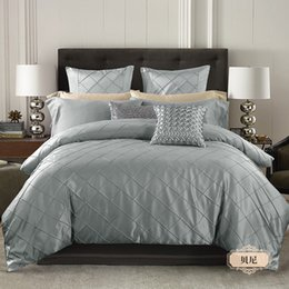 Wholesale Ruffled Comforters - 4 6 Piece Luxurious Pinch Pleat Decorative Pintuck Comforter Set - HIGHEST QUALITY, WRINKLE RESISTANT, ALL SEASON - Queen King,