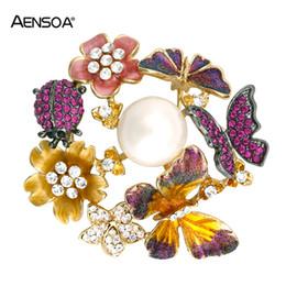 Tschechische brosche online-AENSOA Tschechische Kristall Schmetterling Broschen Für Frauen Legierung Shell Perle Nette Emaille Blumen Brosche Pins Mädchen Kleidung Schnalle