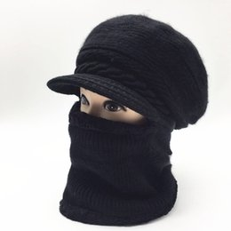 Canada Chapeau tricoté chaud coréen pour dames d'hiver couvre-chef avec foulard et bonnet épais en laine coupe-vent cheap knit head cover Offre