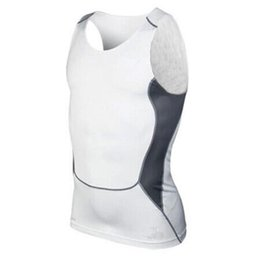 Wholesale Mens Solid Tanks - Wholesale- Mens Compression Tight Tee Shirt Bodybuilding Fitness Men's Stringer Vest Top Shirts Tank Tops