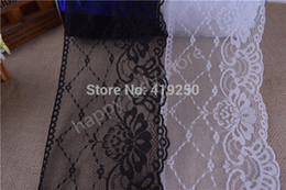 Wholesale Wide White Lace Ribbon - 30yards 16cm wide good quality Handicrafts Net Lace Trim Ribbon Flat Lace Trim Gorgeous Wedding Crafts Sewing white and black