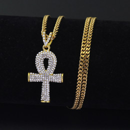 Wholesale Egypt Crystal - Gold Ankh Necklace Egyptian Jewelry Hip Hop Pendant Bling Rhinestone Crystal Key To Life Egypt Cross Silver Necklace Cuban Chain
