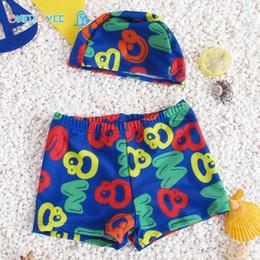 Wholesale Boys Swim Hat - ONEDOYEE Children Swimming Trunks Cap Sets Kids Print color Swimming Pats Hats Polyester Boys Swimwear Beach Wear Bathing suit