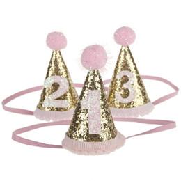 Venta al por mayor bebé niñas diademas sombreros lindos niños 1er cumpleaños fiesta accesorios para el cabello brillo chispa princesa bebés niñas sombreros accesorios desde fabricantes