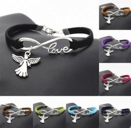 Wholesale Angels Wings Bracelet - Vintage Silver LOVE Infinity Charms Angel Wings Bracelet Bangle For Women Mixed color Velvet Rope Bracelets Jewelry Gift Accessories 10pcs