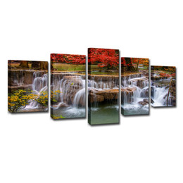 art canvas red tree painting Promo Codes - Canvas Painting Wall Art Home Decor 5 Piece Red Maple Tree Lake Waterfall Landscape Poster For Living Room Pictures