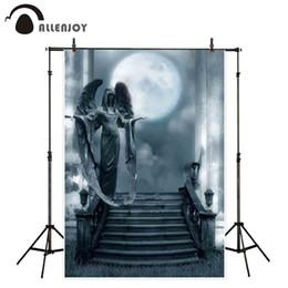Noche de fotografía de fondo online-Fondos de Allenjoy para el estudio fotográfico Dim night moon melancólico horror angel statue backdrop Halloween design photocall nuevo