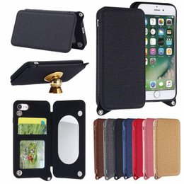 Wholesale Iphone Case Supplies - Lady Makeup Mirror Wallet Phone Case Flip PU Leather TPU Cases Card Slot Stand Holder Back Cover For IPhone Samsung S8 CCA8717 50pcs