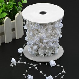 Wholesale Rope Spools - China flower Suppliers 30m Hand Made Rose and Artificial Pearls Bead Garland Spool Rope Chain Wedding Party DIY Accessories Home