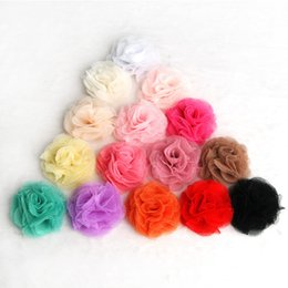 Wholesale Tulle Flowers For Hair - 120pcs Lot 2.4'' 15colors Artificial Tulle Mesh Chiffon Flower For Gilrs Hair Accessories Handmade Fabric Flowers For Headbands