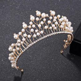 Западные орнаменты онлайн-Western Wedding Jewelry Headdress For Bride Pearl Tiara Handmade Wedding Hair Accessories Crown Crystal Pearl Hair Ornaments
