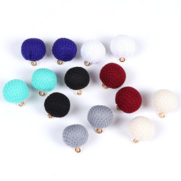 Wholesale Arts Circle - SEA MEW 30PCS 17mm Fashion Woolen Yarn Art Ball Pendant Round Connectors For Women Earring Accessories For Jewelry Making