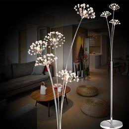 lâmpadas de chão sala de estudo moderna Desconto Modern Simples LEVOU Lâmpada de Chão Sala de estar Quarto lâmpada de Cristal Vestido de Noiva Loja Andar de Estudo Dandelion Luz Frete Grátis