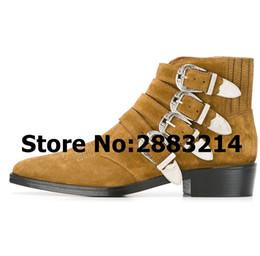 b70e6ed62e75b5 braune wildleder stiefel schnallen Rabatt Multi-Schnalle Strap Suede Braun  Schwarz Rom Designer Männer Stiefeletten