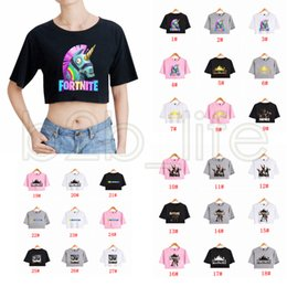 Wholesale womens tops neck design - 40 Designs Fortnite T shirts Womens Girls Sexy Exposed Navel T-shirt Tops Unicorn Printing Short sleeve T shirt Summer Clothing AAA614