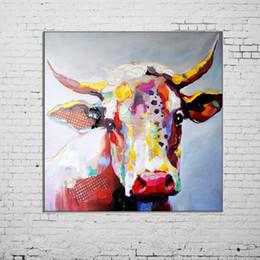 2019 große wandmalerei dekor Große Größe Gemälde Handgefertigte Wandmalerei Farbe Kuh Bild auf Leinwand Abstrakte Wohnkultur Tiere Ölgemälde Hängen Bilder günstig große wandmalerei dekor