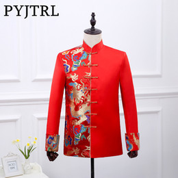 Wholesale Chinese Tunics Costume - PYJTRL Chinese Tunic Suit Jacket Wedding Men Red Vintage Costume Bright Brocade Colorful Embroidery Gold Dragon Blazer Masculino