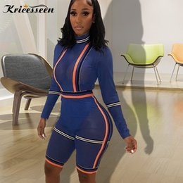 9b43e3d4724 Kricesseen Sexy Club See Through Mesh Rompers Womens Blue Patchwork Jumpsuit  Long Sleeve Skinny Party Playsuits Overalls