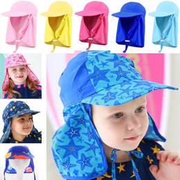 Wholesale play sun - Baby Boys Girls Flap Sun Protection Swim Hat Children Windproof Visor Beach Cap For Playing 14Colors HH7-1039