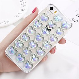 Wholesale Red Light Love - Cute 3D Love Heart Glitter Bling Clear Soft TPU Phone Case For Iphone X Phone Shell For Iphone 6 7 8 Plus