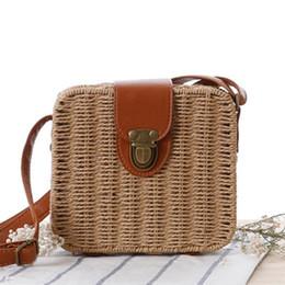 Wholesale British Holidays - Korean version of the rampage straw bag British Square box fashion woven bag women's simple holiday beach bag