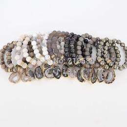Pulsera de geoda online-B16030205 Boho Chic Agates Geode Druzy Charm Pulseras colgantes Gold Pave Rondelle Spacer Beads Bracelet