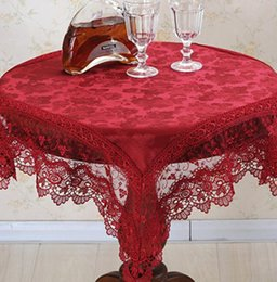 Wholesale Fabric Table Clothes - Wedding tablecloth round table clothes refrigerator TV set cloth lace cloth art wedding ceremony towel washing machine bedside table cloth