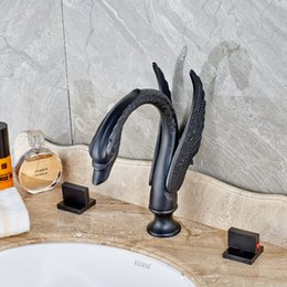 Wholesale Oil Rubbed Faucets Bathroom - Luxury Wholesale and Retail Waterfall Spout Swan Oil Rubbed Bronze Bathroom Faucet Mixer Tap Three Holes And Dual Handles