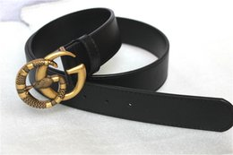 Wholesale new designer jeans for men - Hot sale new designer belts men women Jeans belts For black color Leather belt with Double buckle with snake model as gift