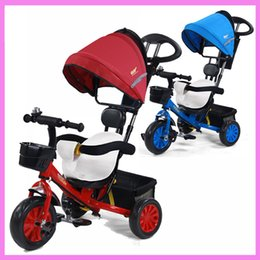Wholesale Baby Tricycles - Baby Toddler Kids Tricycle Stroller Bike Bicycle By Pram for Children Removable Cushion Three Wheels Stroller Bottom Basket