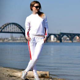 5ac4807b20d 2PCS Fashion Leisure Women Hoodies+Long Pants 2 pieces Women Tracksuits  With Stripes Long Sleeve Casual Sweatshirts KH822312