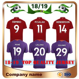 Wholesale beige uniform - Top Quality 2018 #9 FIRMINO Soccer Jersey 18 19 home red #19 MANE #11 M.SALAH Soccer shirts Away Violet LALLANA HENDERSON Football uniforms