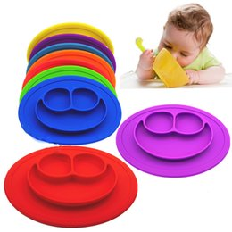Wholesale Baby Food Plates - Smile Food grade silicon baby eating mat oil resistant waterproof service plate portable adsorb Table mat safe and durable 8Colors New