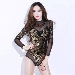Disfraces de Jazz Dance Sequined Jumpsuit Sexy Outfits Woman Stage Outfits Nightclub Pole Dance Clothing Cantante Body DNV10033 desde fabricantes