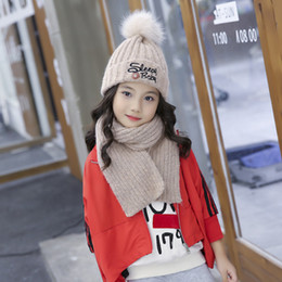 acd2f2f978f80f wollmütze schal setzt Rabatt Baby Kinder Hüte Neueste Herbst Winter Kinder  Warm Gestrickte Hüte + Schal