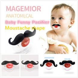 labios de silicona divertidos Rebajas Funny Baby Red Lip Black Bigote Forma chupete Interesante Suave de una pieza Full Silicone Infant Thumb Type Chupete 4 Diseños