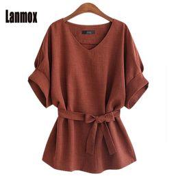Wholesale Wholesale Plus Size Tops - Lanmox Plus Size Blouses Newest Women Linen Office Shirt Tops Fashion Short Sleeve V Neck Casual Brief Blouse Summer Shirts