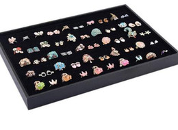 Wholesale Jewelry Display Trays Black - 2018NEW AND FASHION Practical Ring Tray Display Box Jewelry Storage Case With 100 Slots SUPPORT WHOLESALE Black