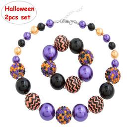 halloween chunky perlenketten Rabatt Halloween DIY Chevron 2ST Set Mädchen Halskette + Armband Set INS Kinder Chunky Bubblegum Perle Kinder Schmuck Zubehör