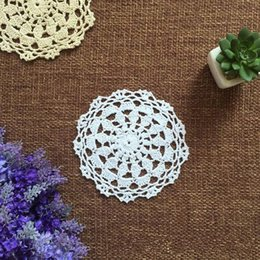 Wholesale Vintage Crochet Table Mats - Wholesale- 12 pcs Vintage look hand crocheted doilies round, handmade table mats for home  wedding decor 12cm round doily on sales